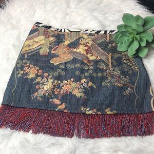 William B Asian Print Chambray Beaded Fringe Skirt